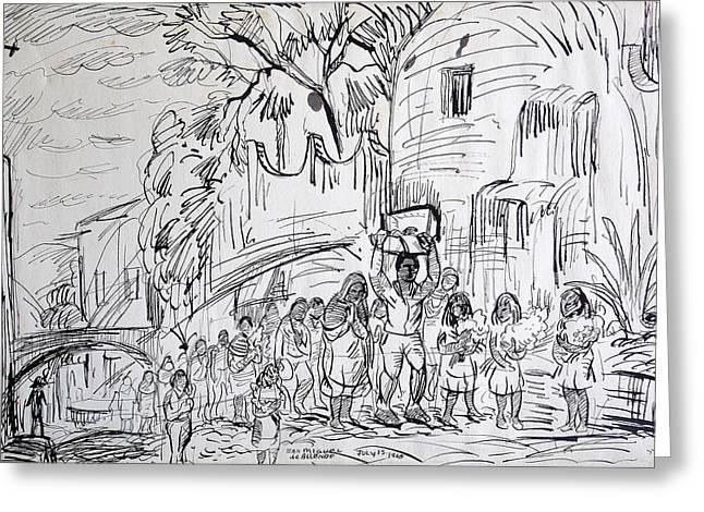 Roadway Drawings Greeting Cards - San Miguel de Allende Greeting Card by Bill Joseph  Markowski