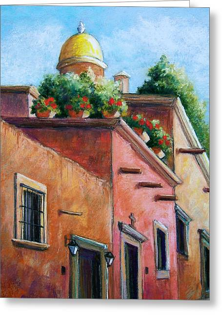 Streets Pastels Greeting Cards - San Miguel de Allende Greeting Card by Candy Mayer