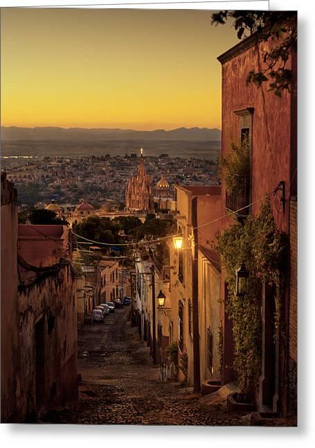 San Miguel De Allende Greeting Cards - San Miguel de Allende Sunset Greeting Card by Dusty Demerson