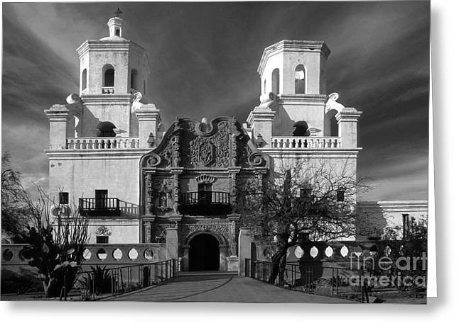 Colonial Architecture Greeting Cards - San Xavier del Bac Mission Greeting Card by Sandra Bronstein