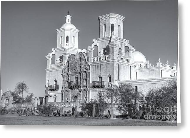 Cupola Greeting Cards - San Xavier del Bac Mission V Greeting Card by Clarence Holmes
