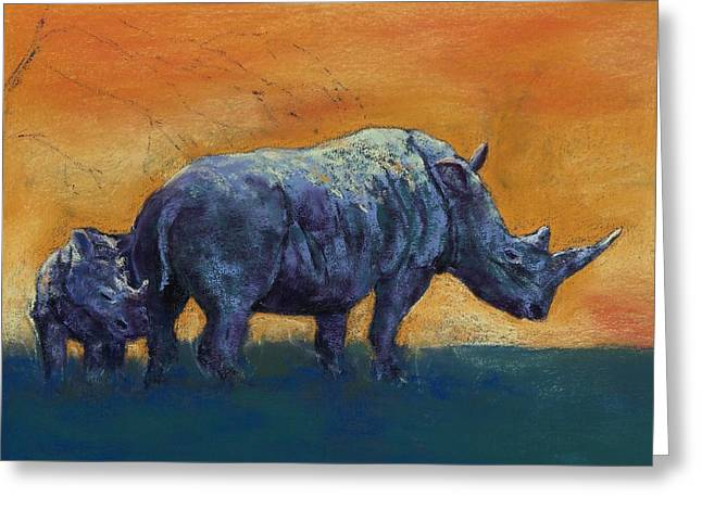 Rhinoceros Pastels Greeting Cards - Sanctuary Greeting Card by Celene Terry
