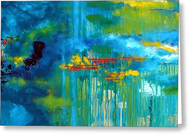 Interpretation Greeting Cards - Sanctuary Abstract Painting Greeting Card by Patricia Awapara