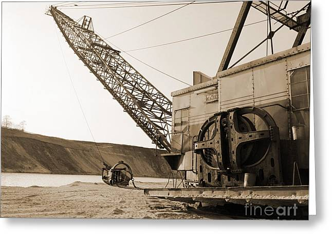 Dredge Greeting Cards - Sand Bucket Miner Greeting Card by Jan Faul