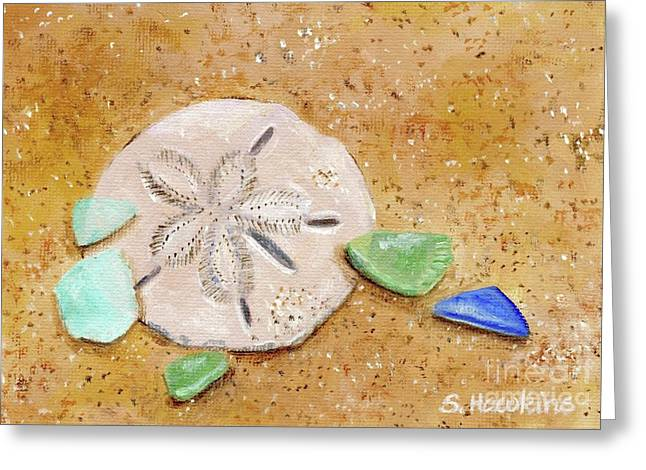 Broken Glass Greeting Cards - Sand Dollar and Beach Glass Greeting Card by Sheryl Heatherly Hawkins