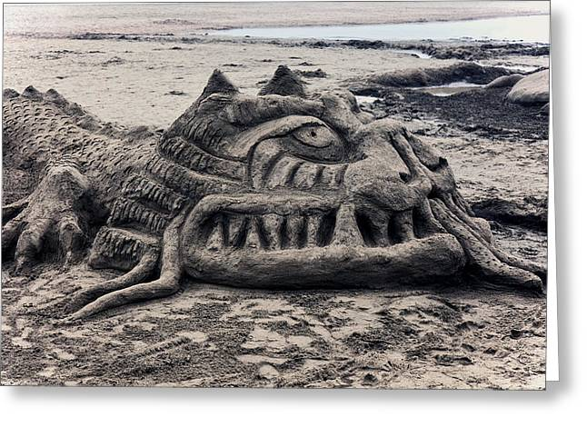 Sandy Beaches Greeting Cards - Sand dragon sculputure Greeting Card by Garry Gay