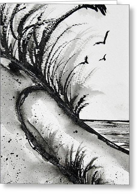Sea Oats Drawings Greeting Cards - Sand Dune Drawing Greeting Card by Tracee Murphy