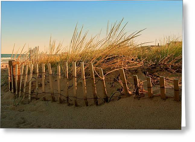 Sunset Posters Greeting Cards - Sand Dune in Late September - Jersey Shore Greeting Card by Angie Tirado