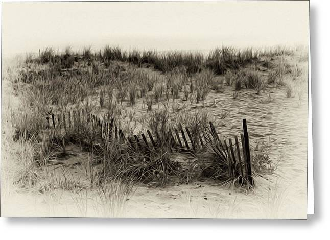 Sand Fences Digital Art Greeting Cards - Sand Dune in Sepia Greeting Card by Bill Cannon