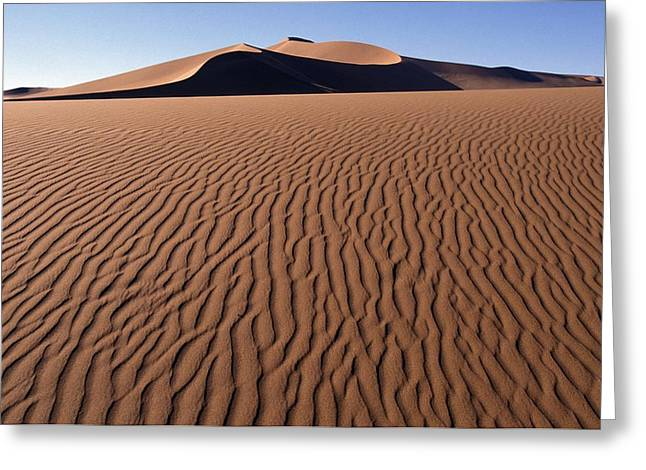 Sand Pattern Greeting Cards - Sand Dunes Against Clear Sky Greeting Card by Axiom Photographic