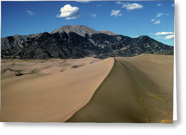 Color_image Greeting Cards - Sand Dunes with Mount Blanca Greeting Card by John Brink