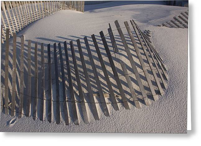 Sand Fence On The Beach In Destin Greeting Card by Marc Moritsch