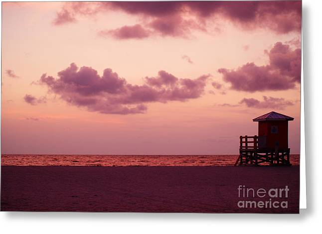 Sand Key Sunset Greeting Card by Milton Brugada