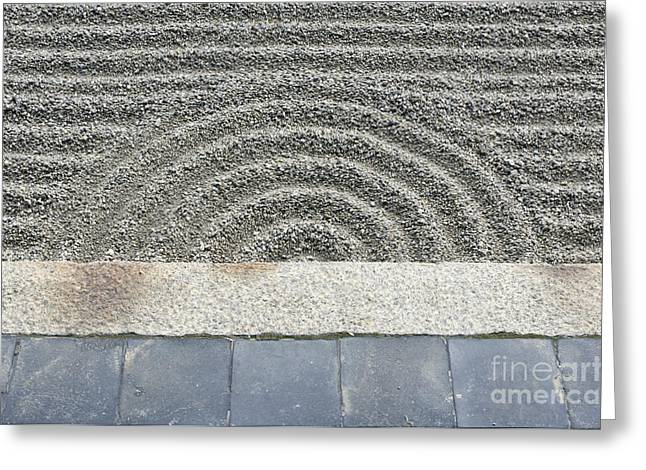 Kyoto Greeting Cards - Sand Pattern in a Rock Garden Greeting Card by Rob Tilley