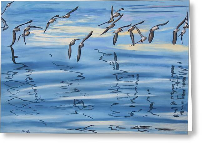 Formation Pastels Greeting Cards - Sand Pipers Greeting Card by James Geddes