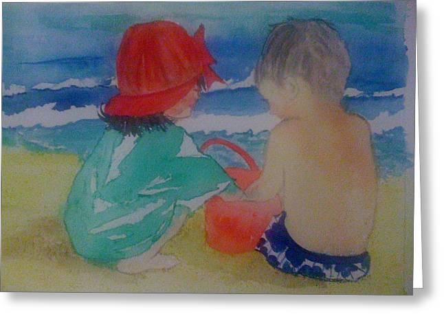 Sand Play Greeting Card by Judi Goodwin