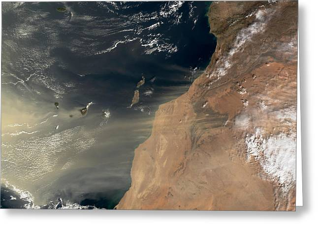 Spectrometer Greeting Cards - Sand Storm Over Canary Islands Greeting Card by Nasa