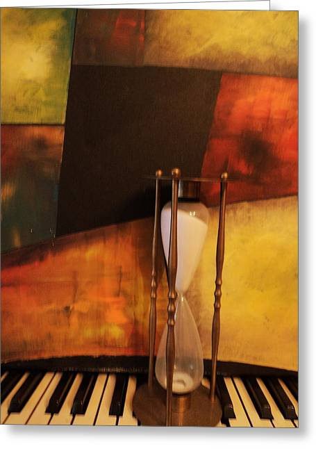 Red Hourglass Greeting Cards - Sand Through the Hourglass Greeting Card by Anne-Elizabeth Whiteway