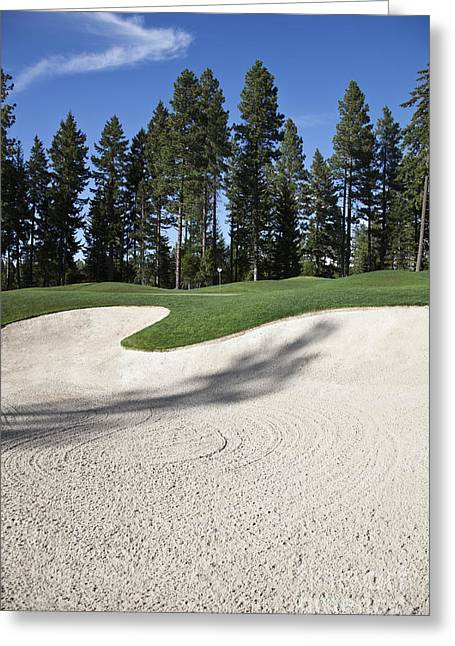 Casting A Shadow Greeting Cards - Sand Trap at a Golf Course Greeting Card by Jetta Productions, Inc
