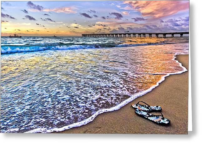 Sunset Greeting Cards Greeting Cards - Sandals Greeting Card by Debra and Dave Vanderlaan