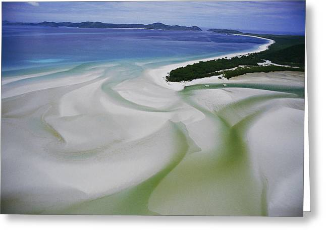 Whitsunday Greeting Cards - Sandbars Create An Interesting Pattern Greeting Card by Paul Chesley