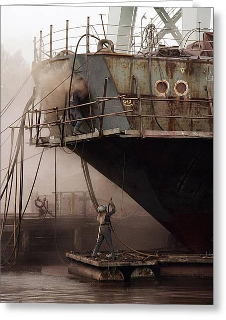 Solidarity Greeting Cards - Sandblasters Restore A Soviet Ship Greeting Card by Cotton Coulson