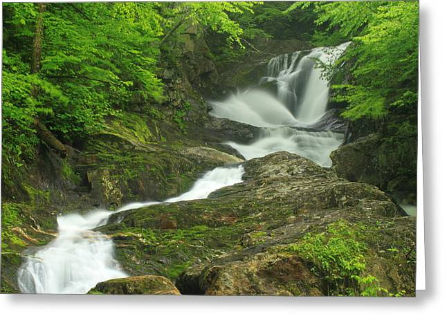 Westfield River Greeting Cards - Sanderson Brook Falls wide view Greeting Card by John Burk