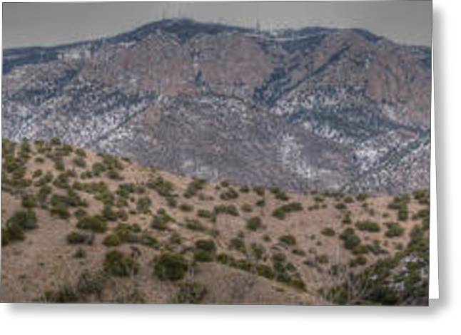 Rincon Greeting Cards - Sandia Foothills and High Peaks Panoramic Greeting Card by Aaron Burrows