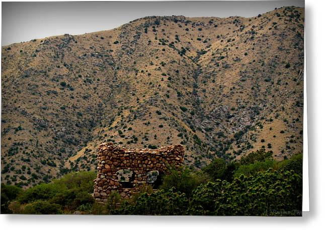 Rincon Greeting Cards - Sandia Stone Hut Greeting Card by Aaron Burrows