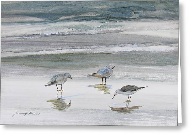 Sea Birds Greeting Cards - Sandpipers Greeting Card by Julianne Felton
