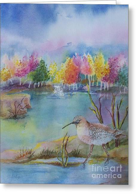 Maryann Greeting Cards - Sandpipers Pond Greeting Card by Maryann Schigur