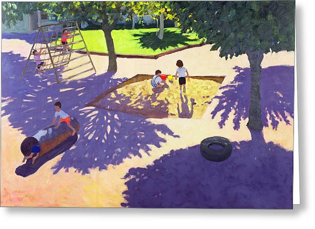 French Memories Greeting Cards - Sandpit Greeting Card by Andrew Macara