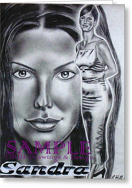 Refurbished Photos Drawings Greeting Cards - Sandra Bullock Greeting Card by Rick Hill
