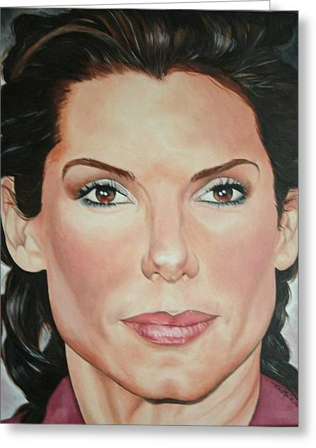 Portraits By Timothe Greeting Cards - Sandra Bullock Greeting Card by Timothe Winstead