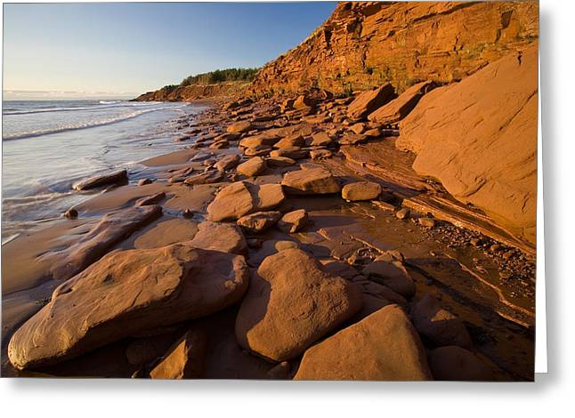 Cliffs Over Ocean Greeting Cards - Sandstone Cliffs, Cape Turner, Prince Greeting Card by John Sylvester