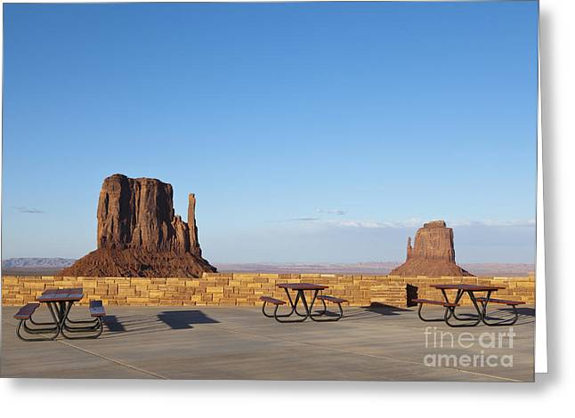 Table Mesa Greeting Cards - Sandstone Mesas Viewable From a Rest Area Greeting Card by Paul Edmondson