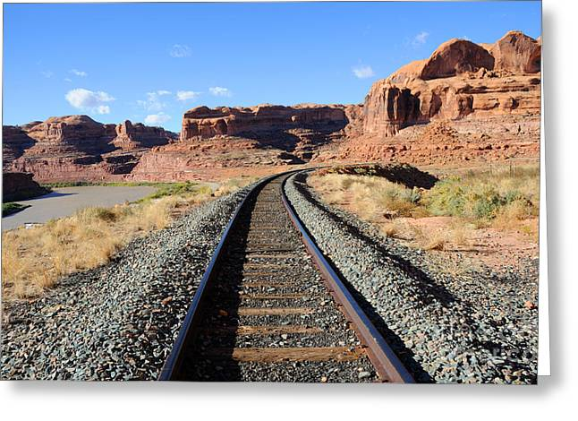 Transporation Greeting Cards - Sandstone Railroad Greeting Card by Gary Whitton