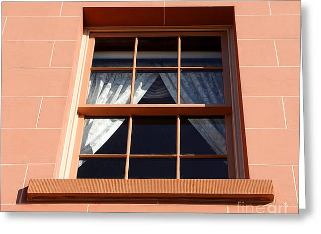 Smooth Sandstone Greeting Cards - Sandstone Window in Historic Mansion  Greeting Card by Gary Whitton