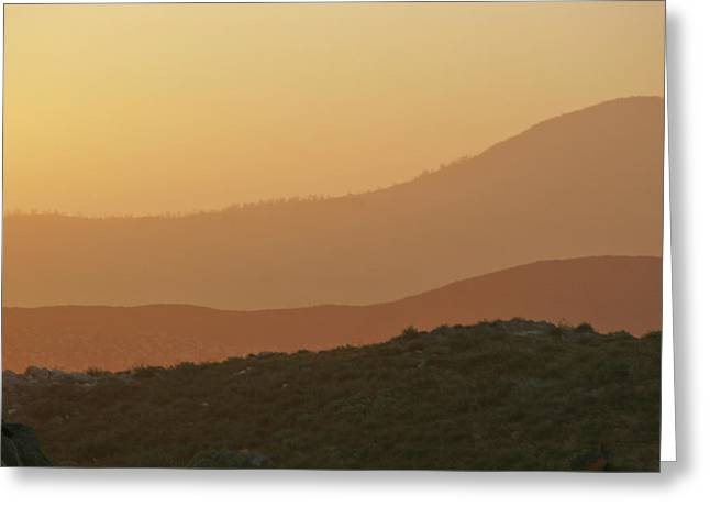 Hazy Days Greeting Cards - Sandstorm during Sunset on Old Highway Route 80 Greeting Card by Christine Till