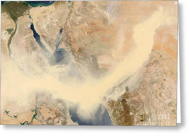 Sandstorm Greeting Cards - Sandstorm Greeting Card by NASA / Science Source
