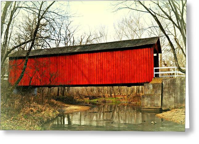 Sandy Creek Bridge In Winter Greeting Card by Marty Koch