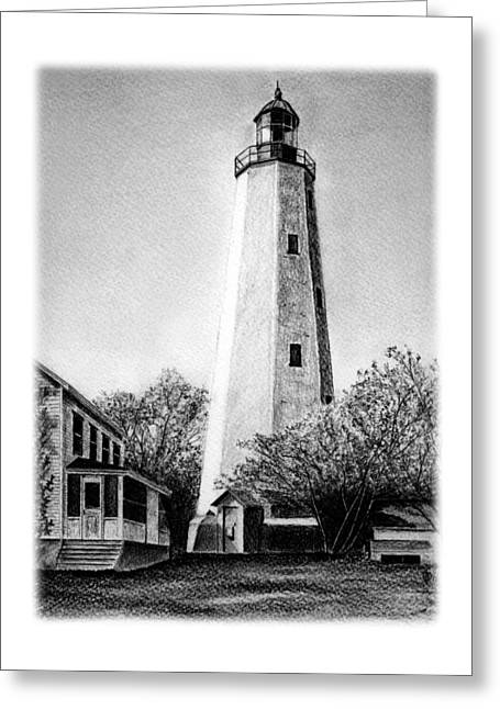 Sandy Beaches Drawings Greeting Cards - Sandy Hook Lighthouse Greeting Card by Greg DiNapoli