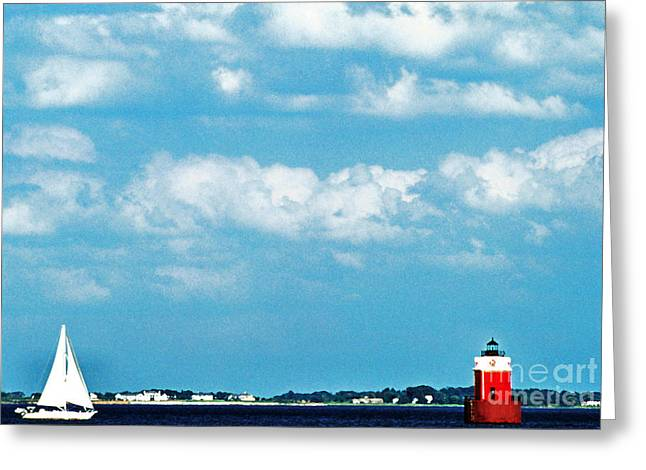 Sandy Point Park Greeting Cards - Sandy Point Shoal Lighthouse Greeting Card by Thomas R Fletcher
