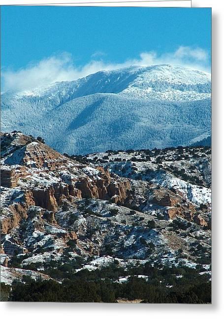 Taos Drawings Greeting Cards - Sangre de Christos in Winter Greeting Card by Tim McCarthy