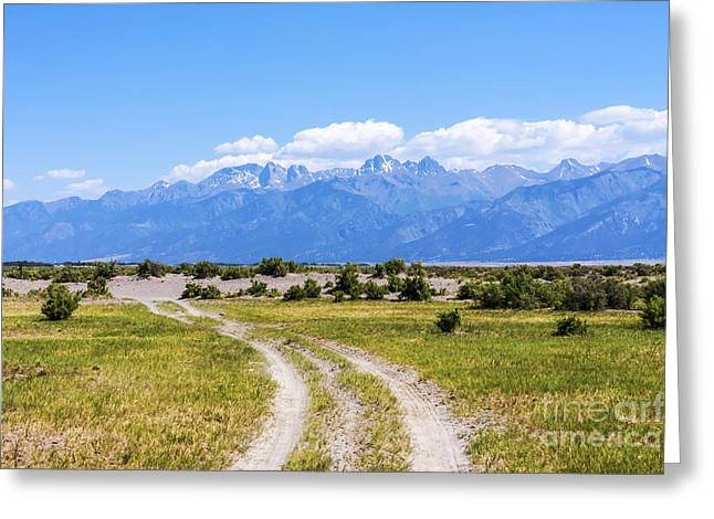 Scotts Scapes Greeting Cards - Sangre de Cristos from the Old Medano Ranch Greeting Card by Scotts Scapes
