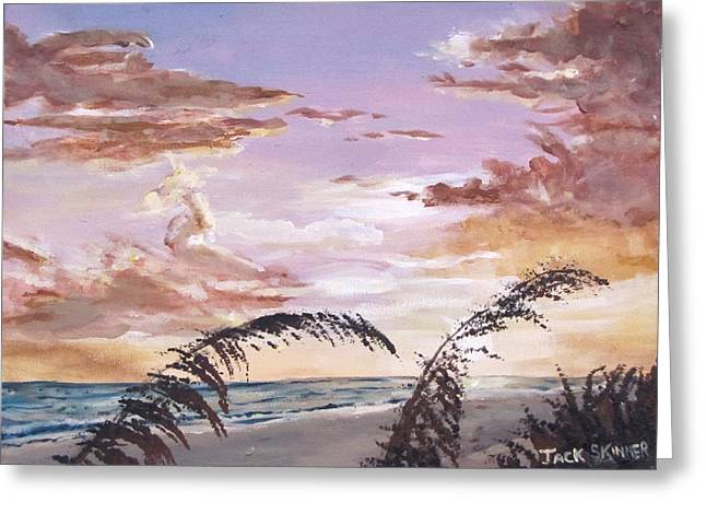 Sanibel Island Sunset Greeting Card by Jack Skinner