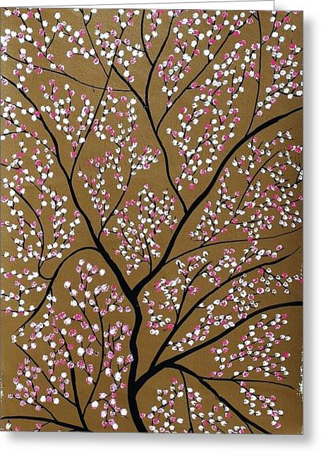Pink Flower Branch Greeting Cards - Sanshet jann Greeting Card by Sumit Mehndiratta