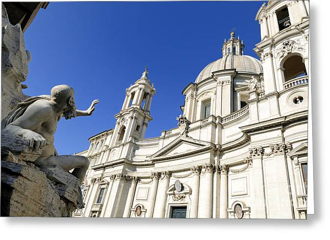 The Church Greeting Cards - Sant Agnese in Agone. Piazza Navona. Rome Greeting Card by Bernard Jaubert