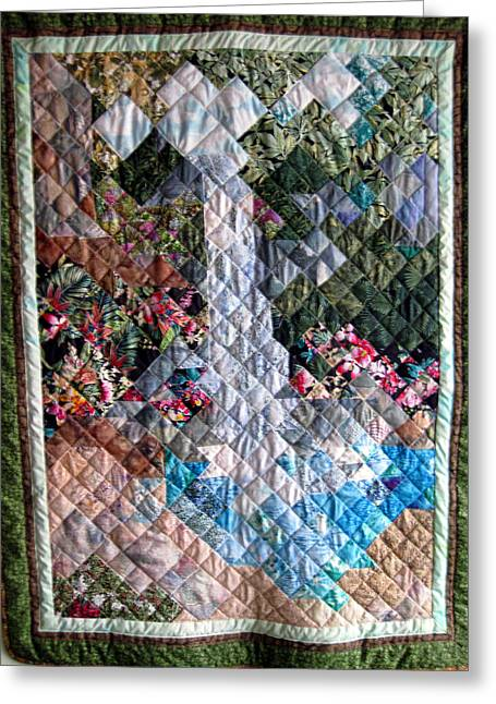 Waterfall Tapestries - Textiles Greeting Cards - Santa Amelia Waterfall quilt Greeting Card by Sarah Hornsby