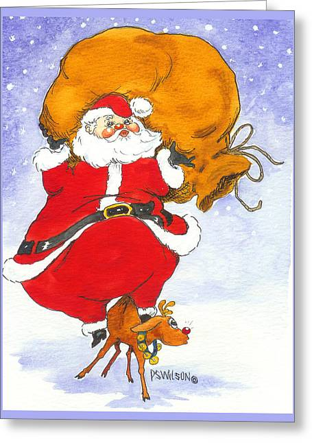 Rudolph Greeting Cards - Santa and Rudolph Greeting Card by Peggy Wilson